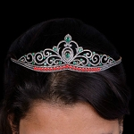 Queen Crown 14.6 Ct Natural Certified Diamond Emerald Ruby 925 Sterling Silver Bridal Headpieces